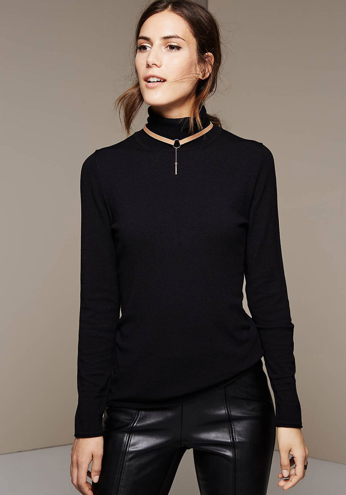 Comma Fine Knit Polo Neck Sweater Jumper, Black