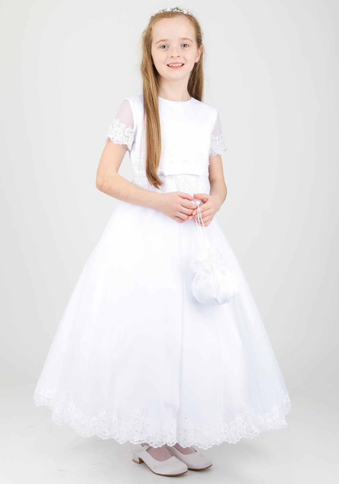 c186b0682 White Angel Grace Lace Trim Communion Dress