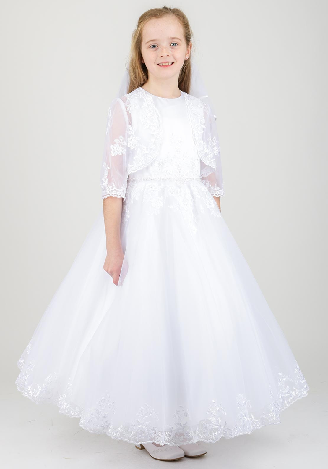 White Angel Clare Lace Detail Communion Dress, White
