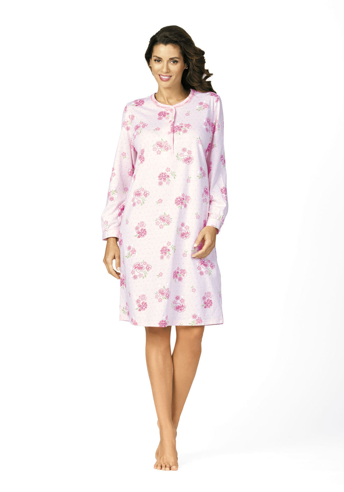 Comtessa Floral Print Cotton Nightdress, Pink