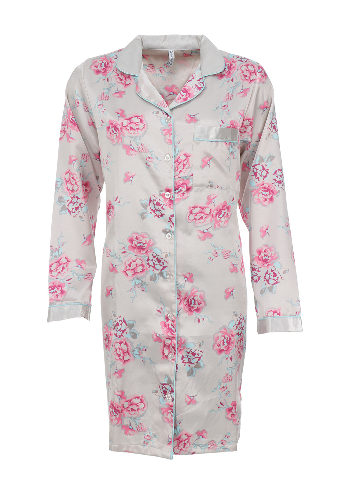 Comtessa Floral Print Satin Nightdress, Grey