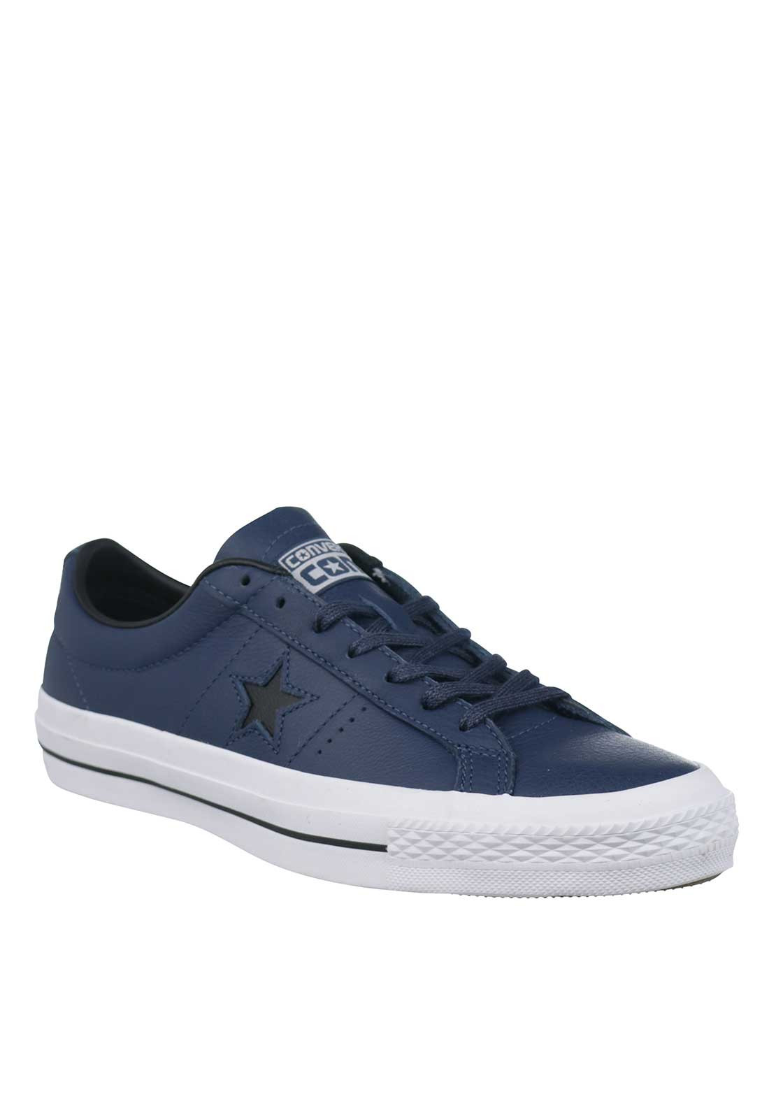 Converse Cons Mens Leather Trainers, Navy