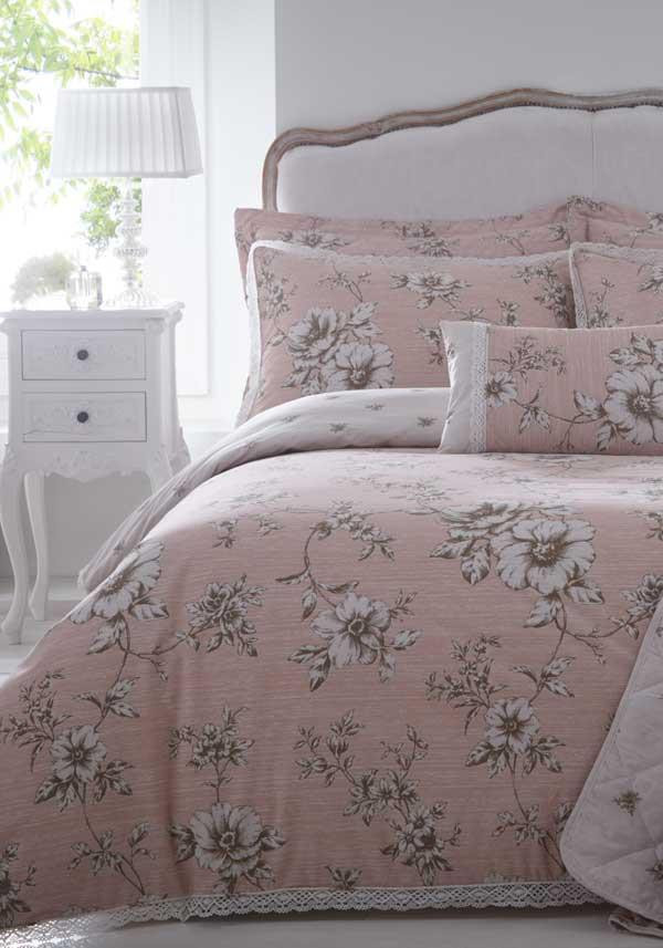 Country Classics Antoinette Embellished Percale Duvet Set, Pink