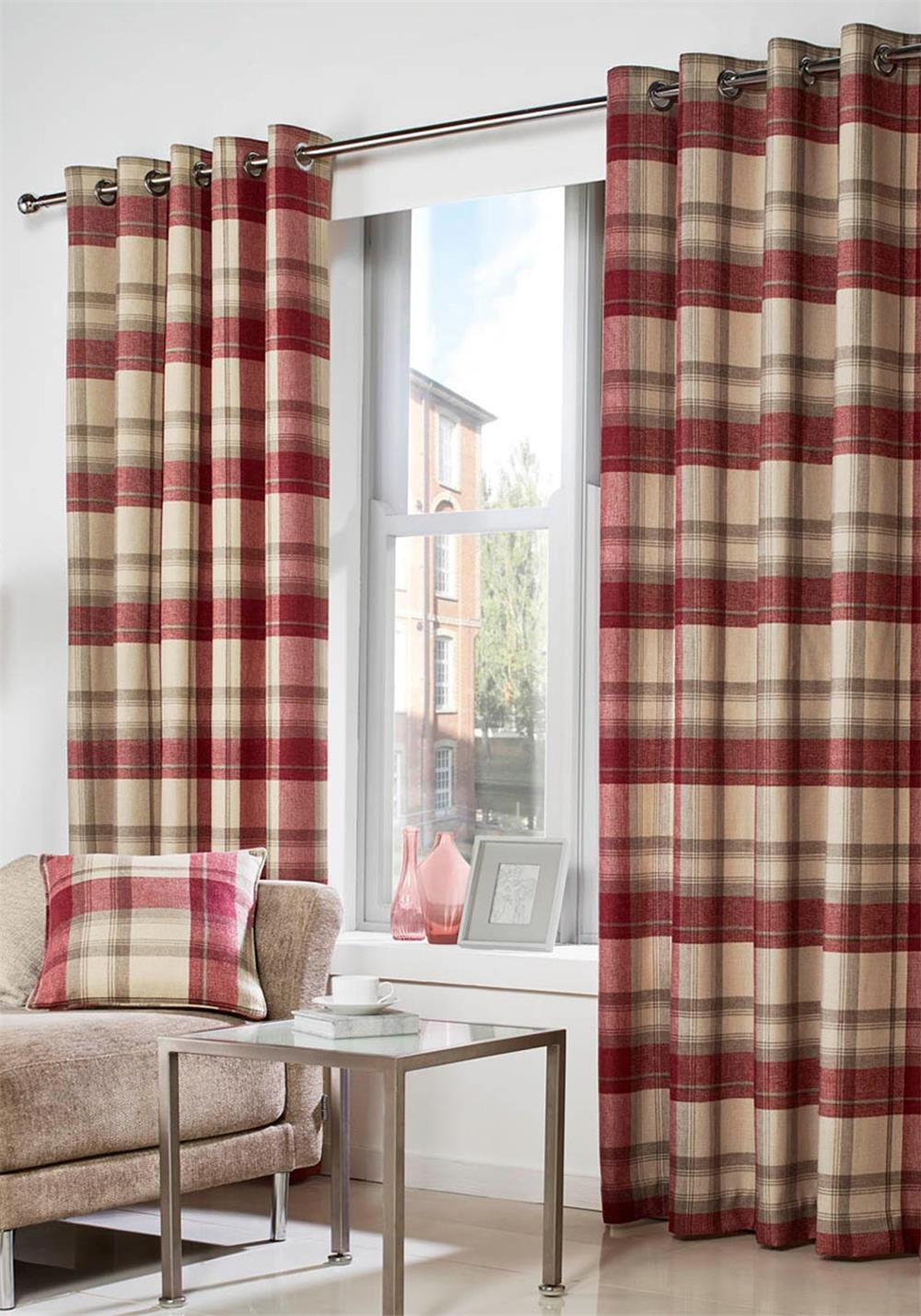 Curtina Belvedere Readymade Luxury Eyelet Curtains Fully Lined, Red Check