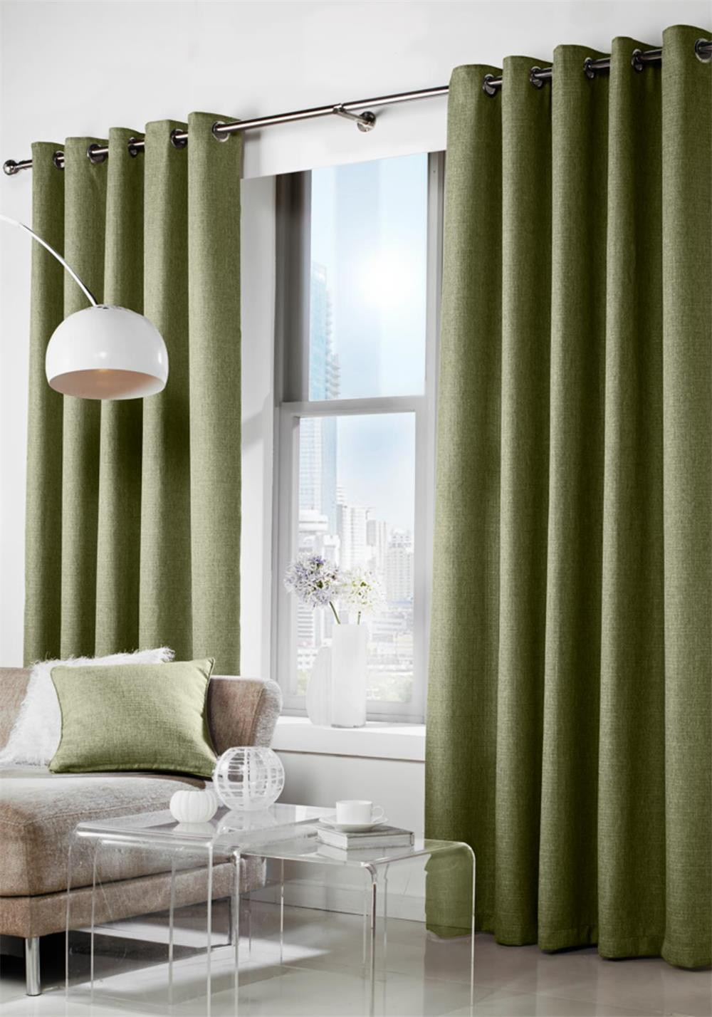 Curtina Leighton Readymade Luxury Eyelet Curtains Fully Lined, Green
