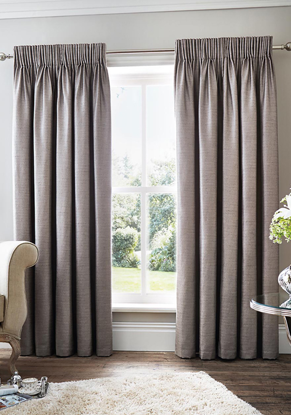 Curtina Rimini Fully Lined Curtains, Grey