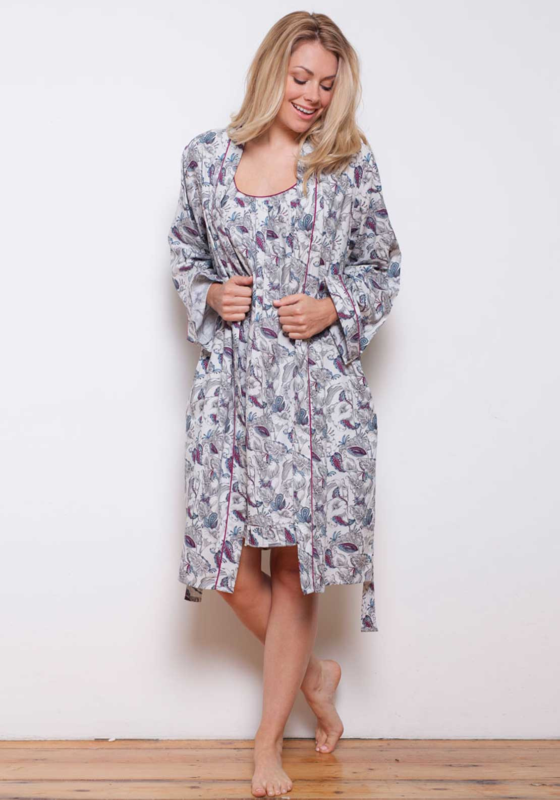 Cyberjammies Harriet Woven Wrap Dressing Gown, Multi