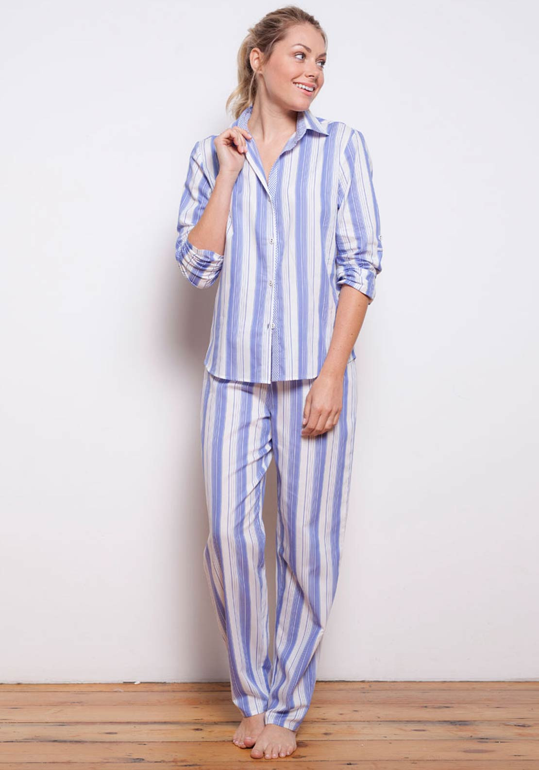 Cyberjammies Vienna Woven Striped Pyjama Bottoms, Blue