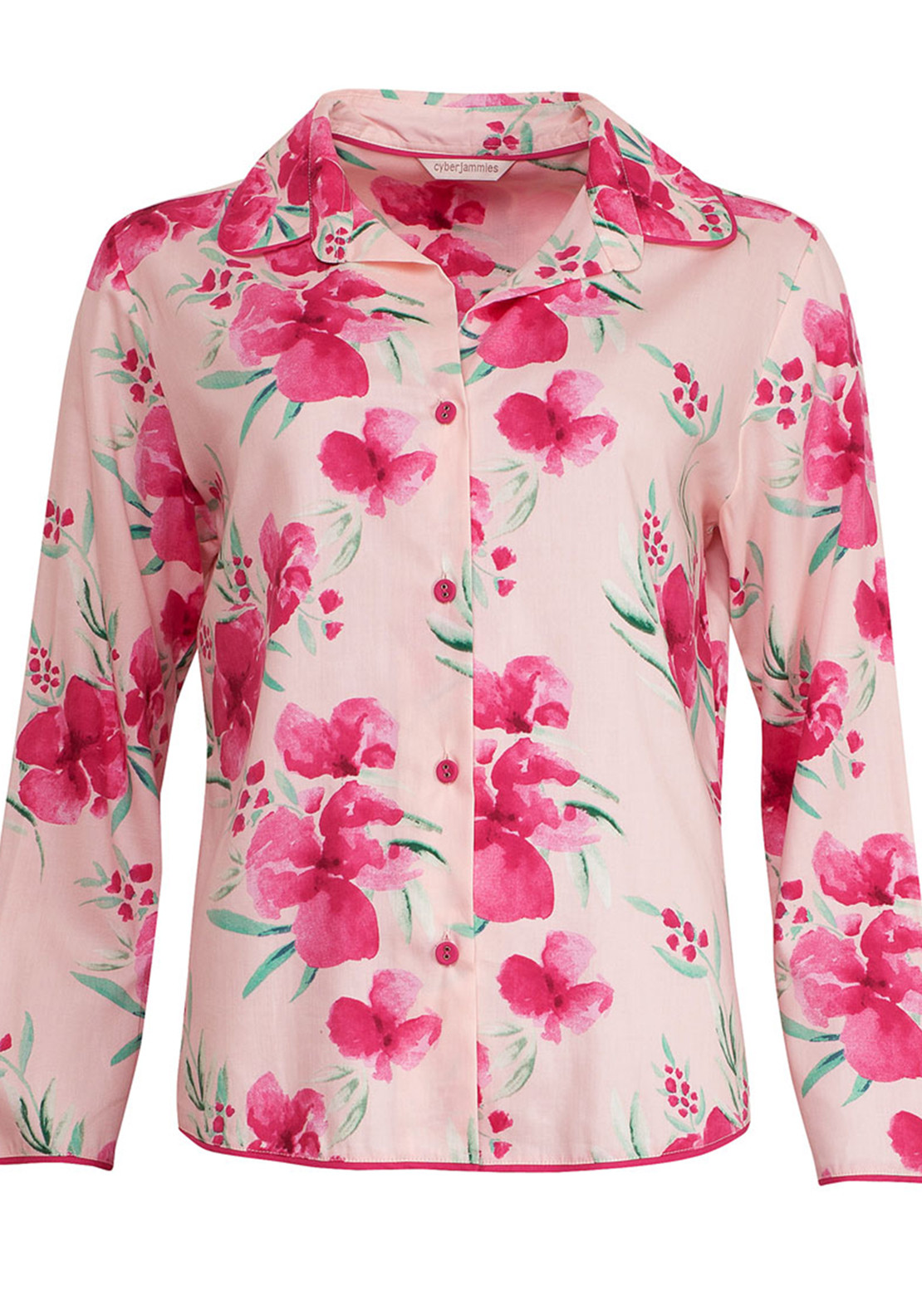 Cyberjammies South Pacific Floral Print Pyjama Top, Pink
