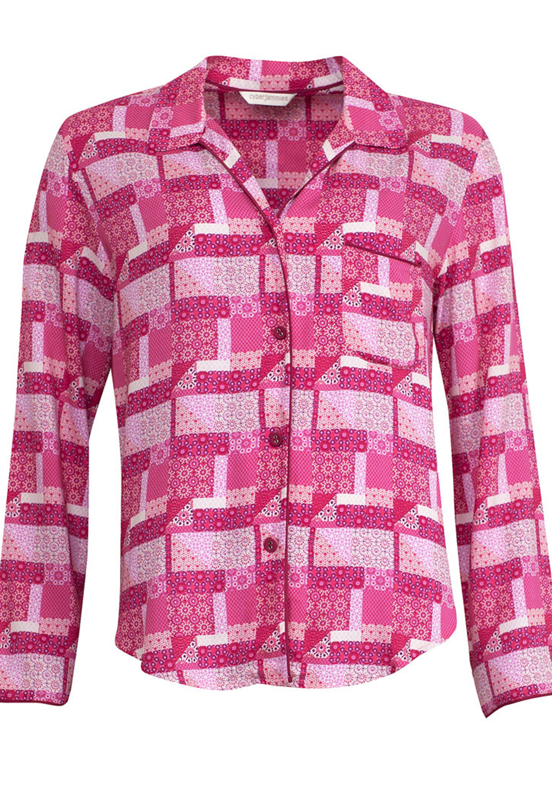 Cyberjammies Pretty in Pink Patchwork Print Pyjama Top, Pink