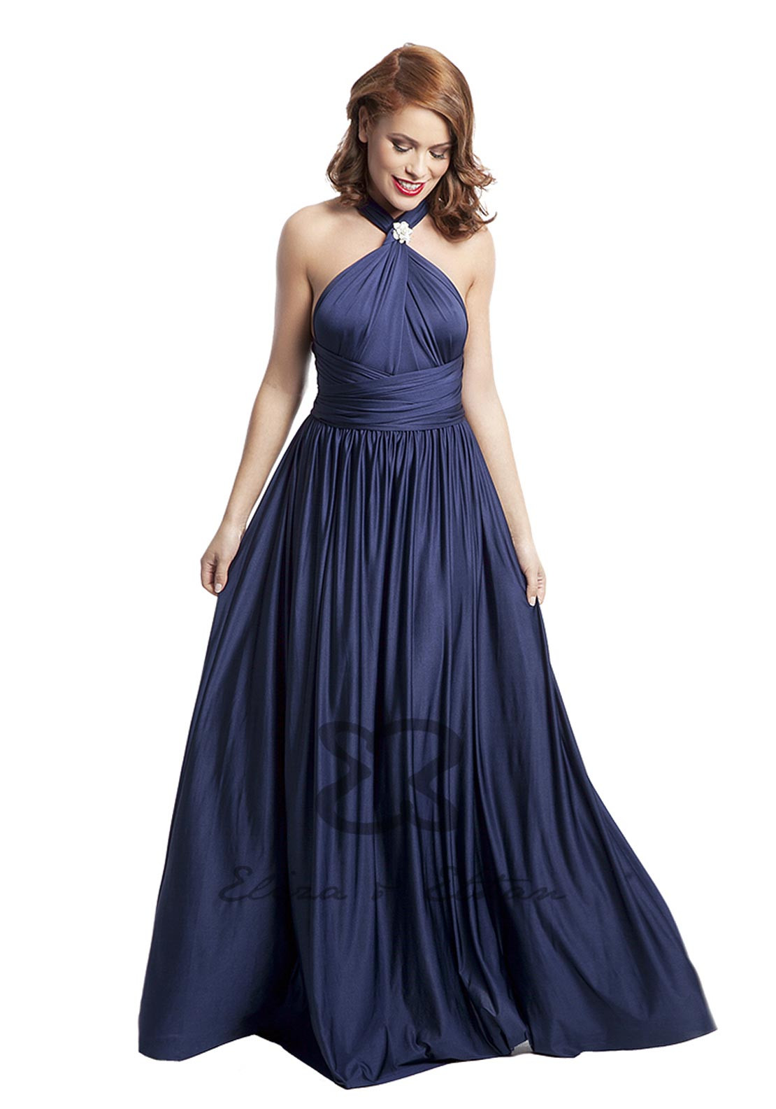 Eliza & Ethan Multi Wrap Long Occasion Dress, Midnight