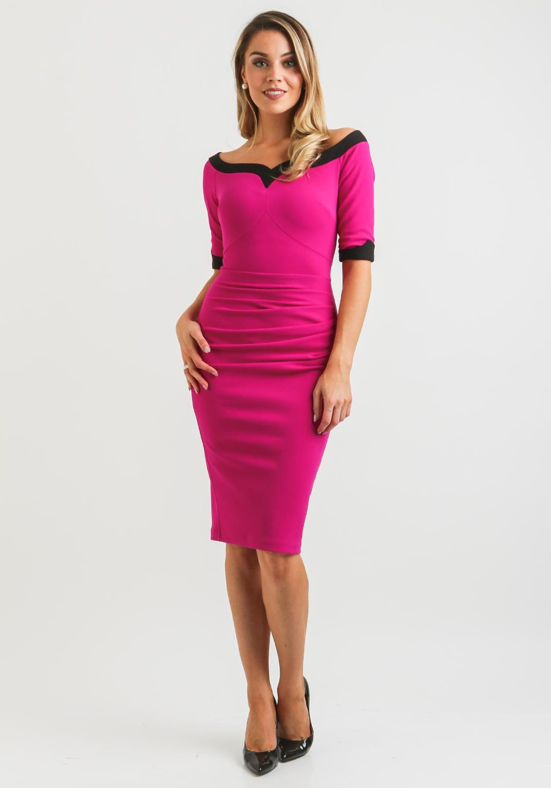 eebe655e6e9f Diva Fellini Bardot Pencil Dress, Magenta Pink | McElhinneys