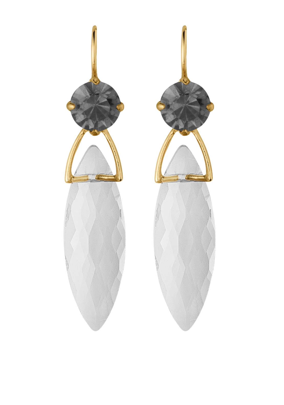 Dyrberg Kern Ailis Gold Plated Swarovski Crystal Drop Earrings, Grey