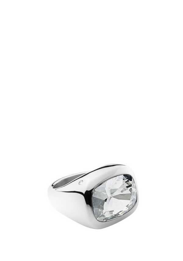 Dyrberg Kern Womens Garel Large Crystal Set Ring, Silver