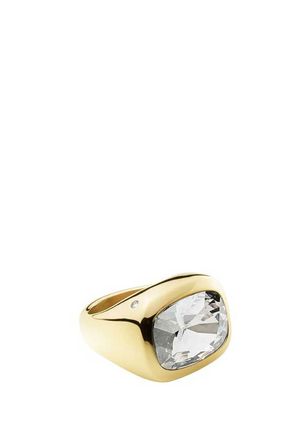 Dyrberg Kern Womens Garel Large Crystal Set Ring, Gold