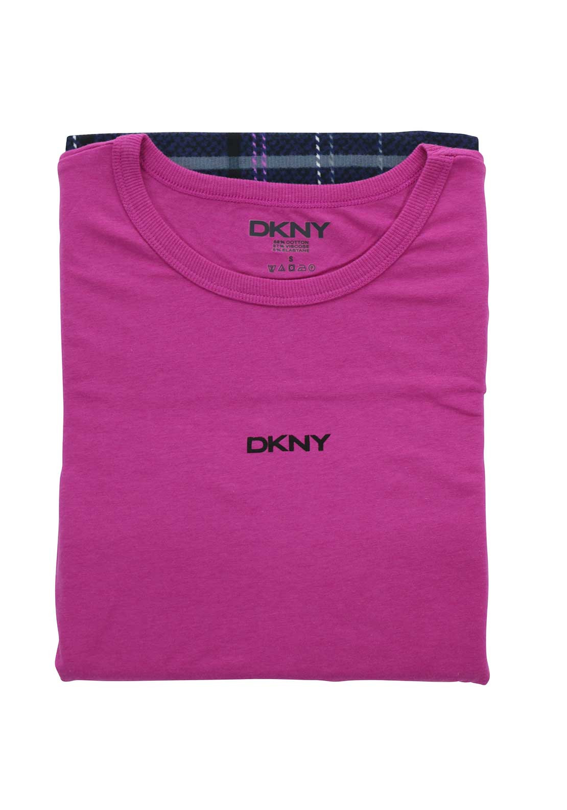 DKNY Womens Check Pyjama Set, Pink and Navy