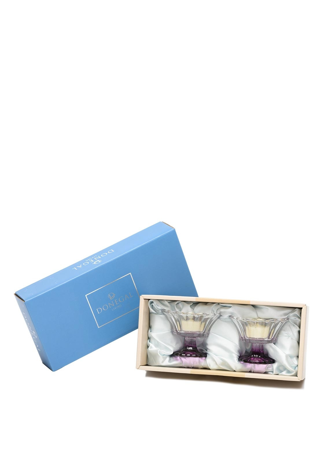 Donegal Living Malin Pair Tealight Holders, Purple
