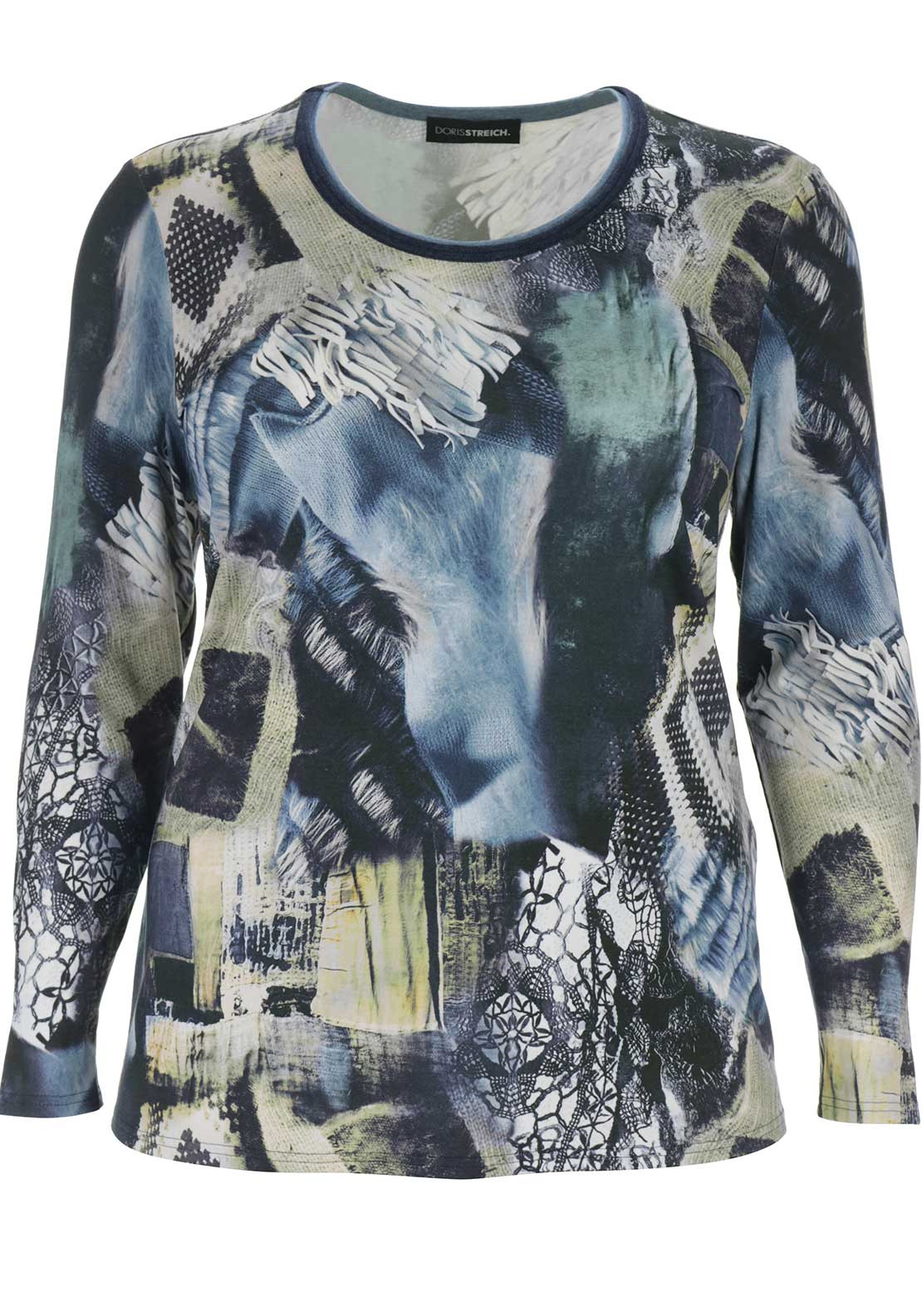 Doris Streich Printed Long Sleeve Top, Blue Multi