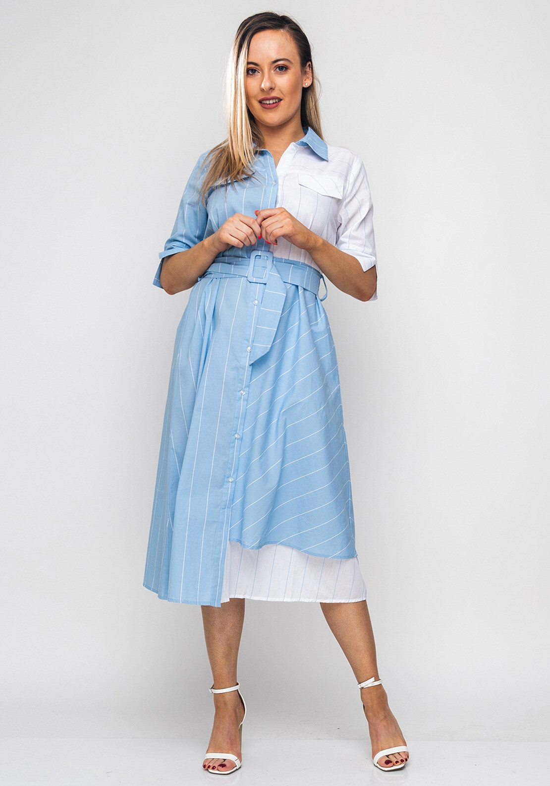 e6fe4cece468 Seventy1 Striped Cotton Midi Dress, Blue. Be the first to review this  product