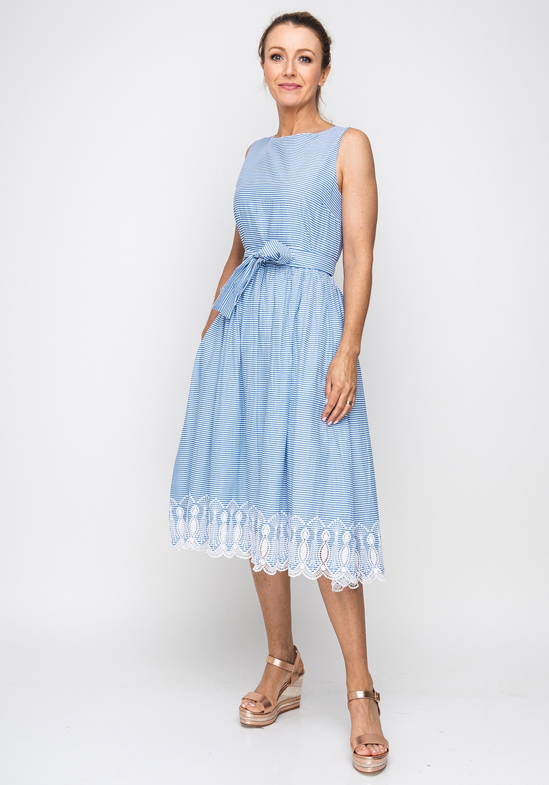 ee0abfefb7cc First Avenue Striped Cotton Midi Dress, Blue | McElhinneys