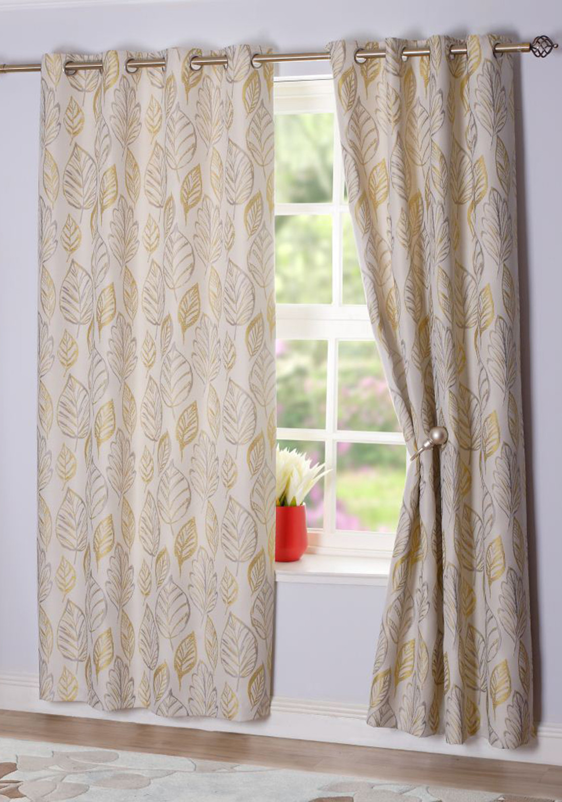 E.A. Delaney Antwerp Eyelet Interlined Lime Curtains