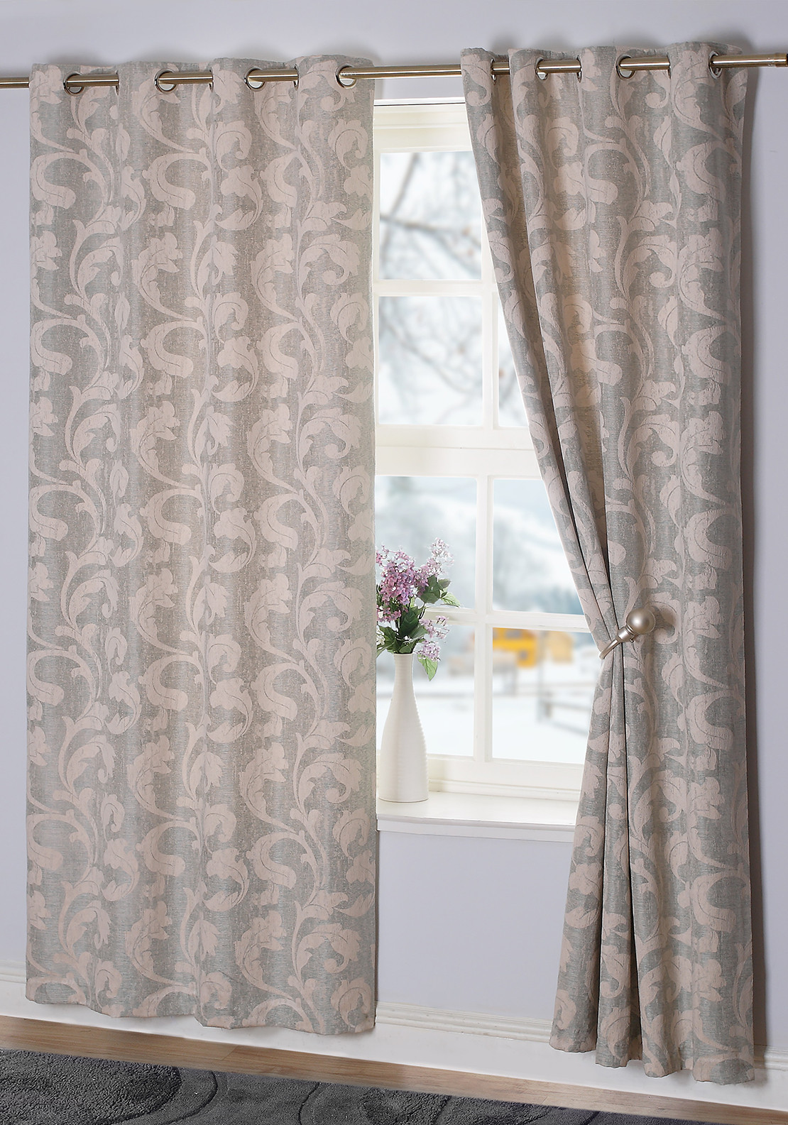 E.A. Delaney Rochelle Eyelet Curtains, Duck Egg
