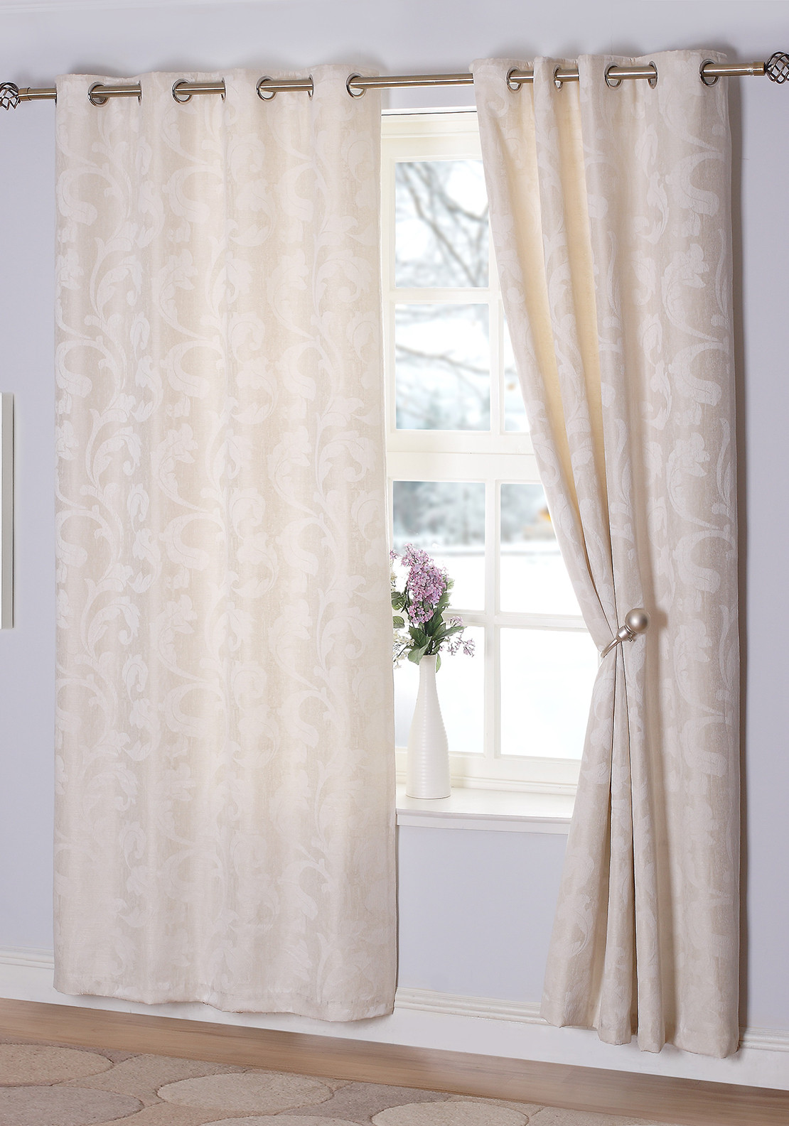 E.A. Delaney Rochelle Eyelet Curtains, Ivory