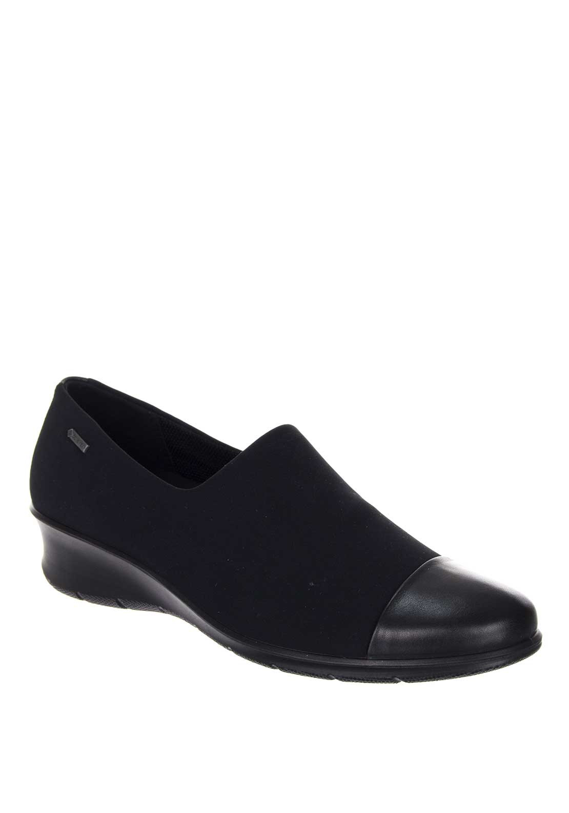 Ecco Womens Touch Leather Low Wedge Shoe, Black