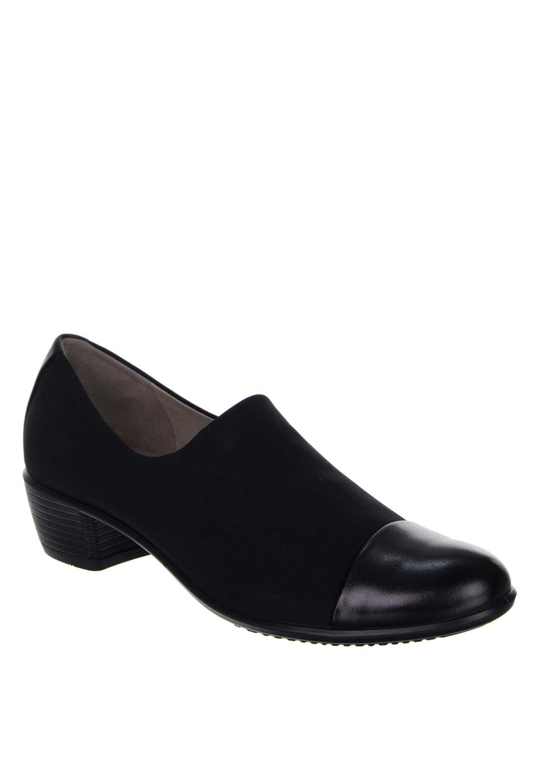 Ecco Womens Touch Leather Low Heel Shoe, Black