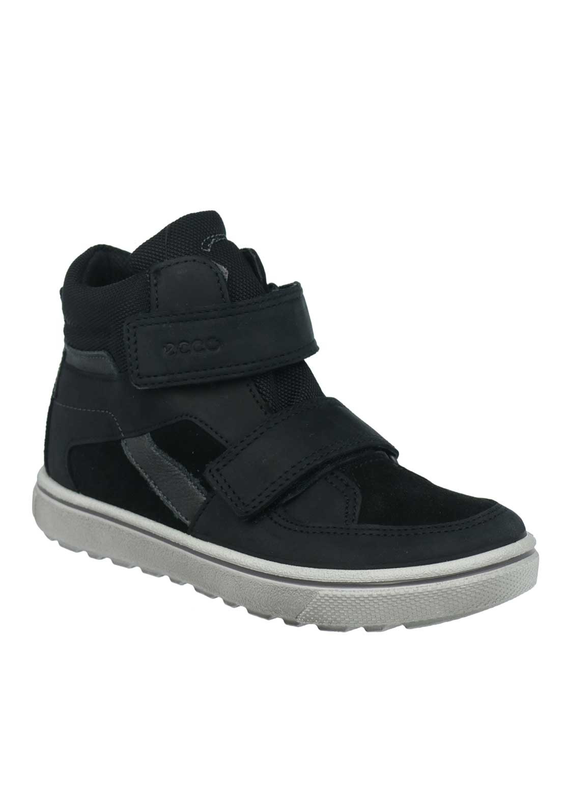 Ecco Boys Leather Mix Velcro Strap Boots, Black