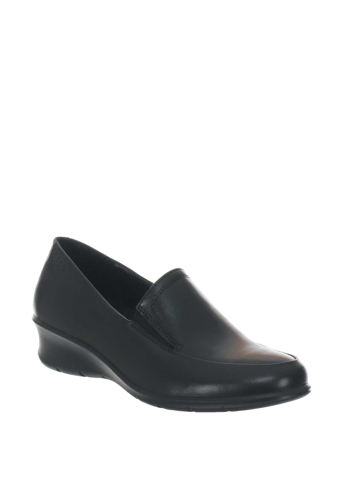 727db60d31 Ecco Womens Leather Low Wedge Shoe, Black