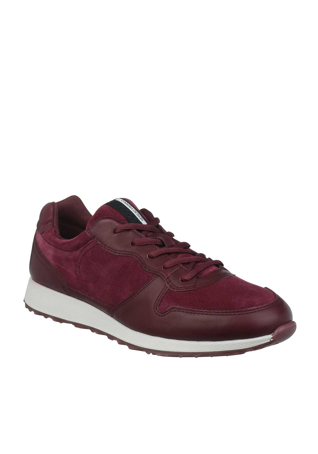 Ecco Womens Leather Sneak Trainers, Wine