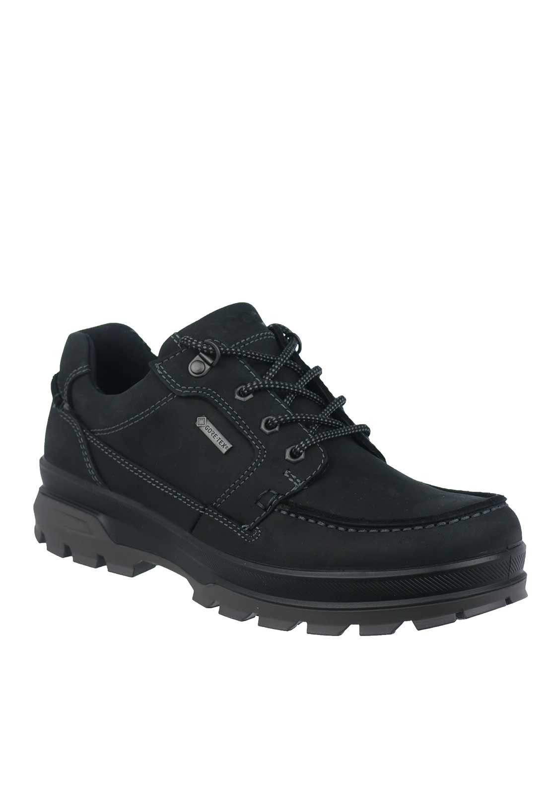Ecco Mens Rugged Track Leather Waterproof Shoe, Black