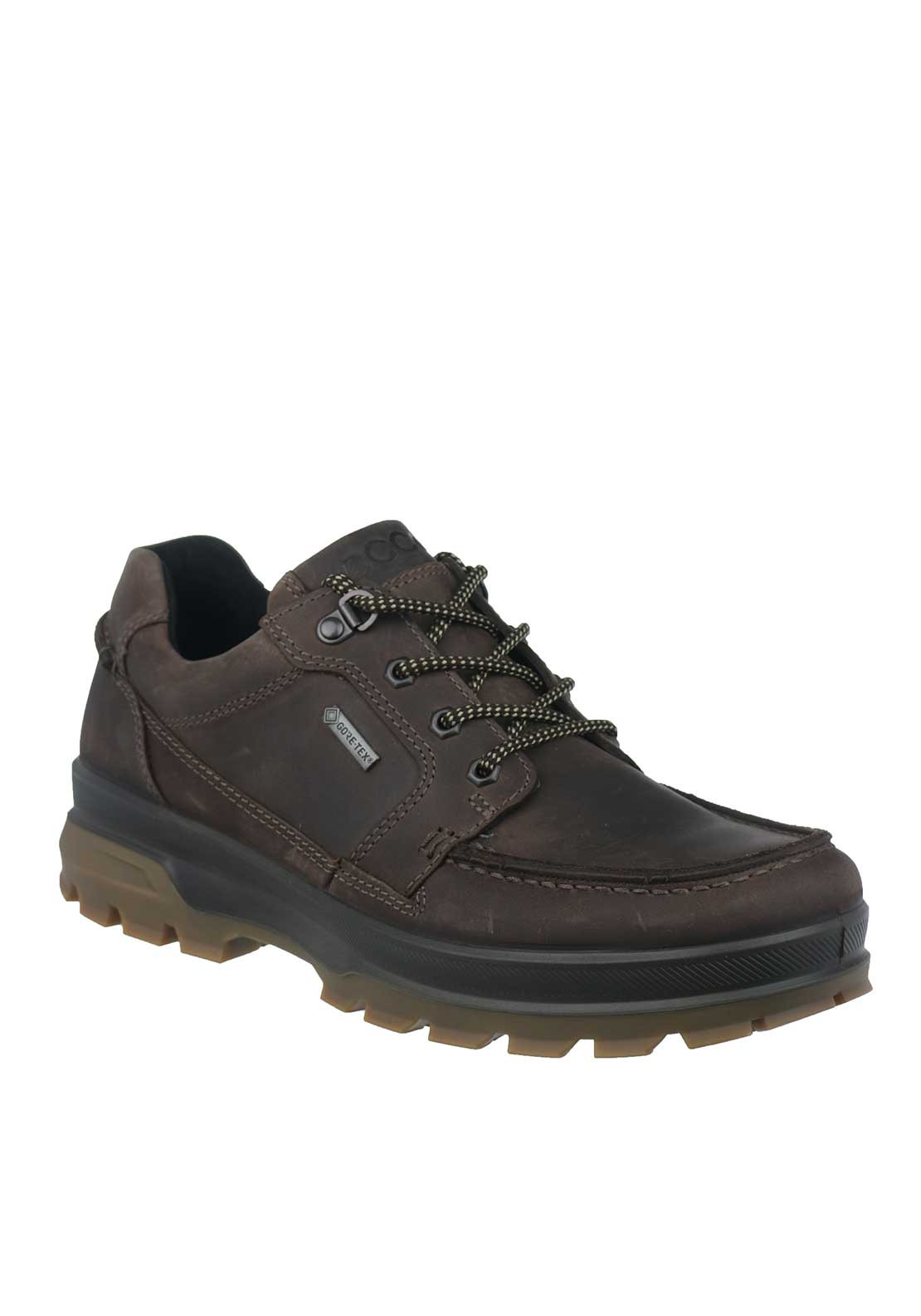 Ecco Mens Rugged Track Leather Waterproof Shoe, Mocha