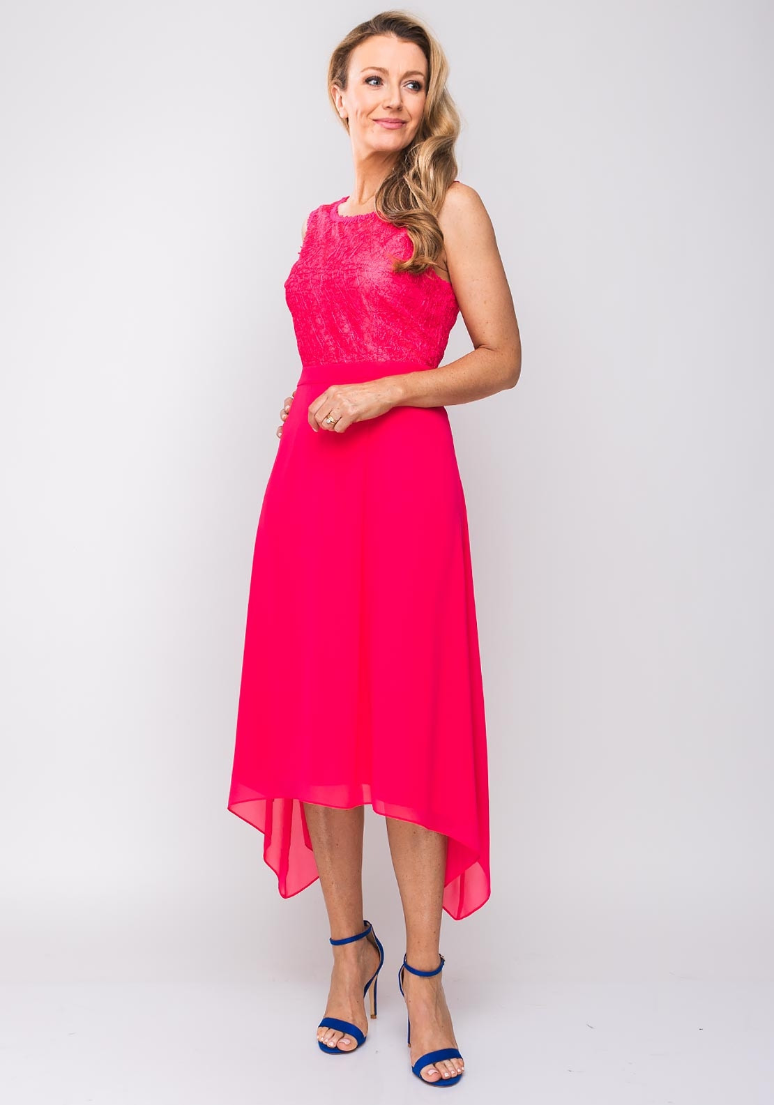 ebbbfd55ddeae Ella Boo Embroidered Bodice Flared Dress, Hot Pink. Be the first to review  this product