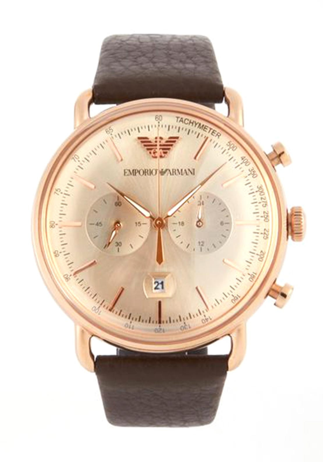 first look best buy Emporio Armani Brown Leather Watch AR11106