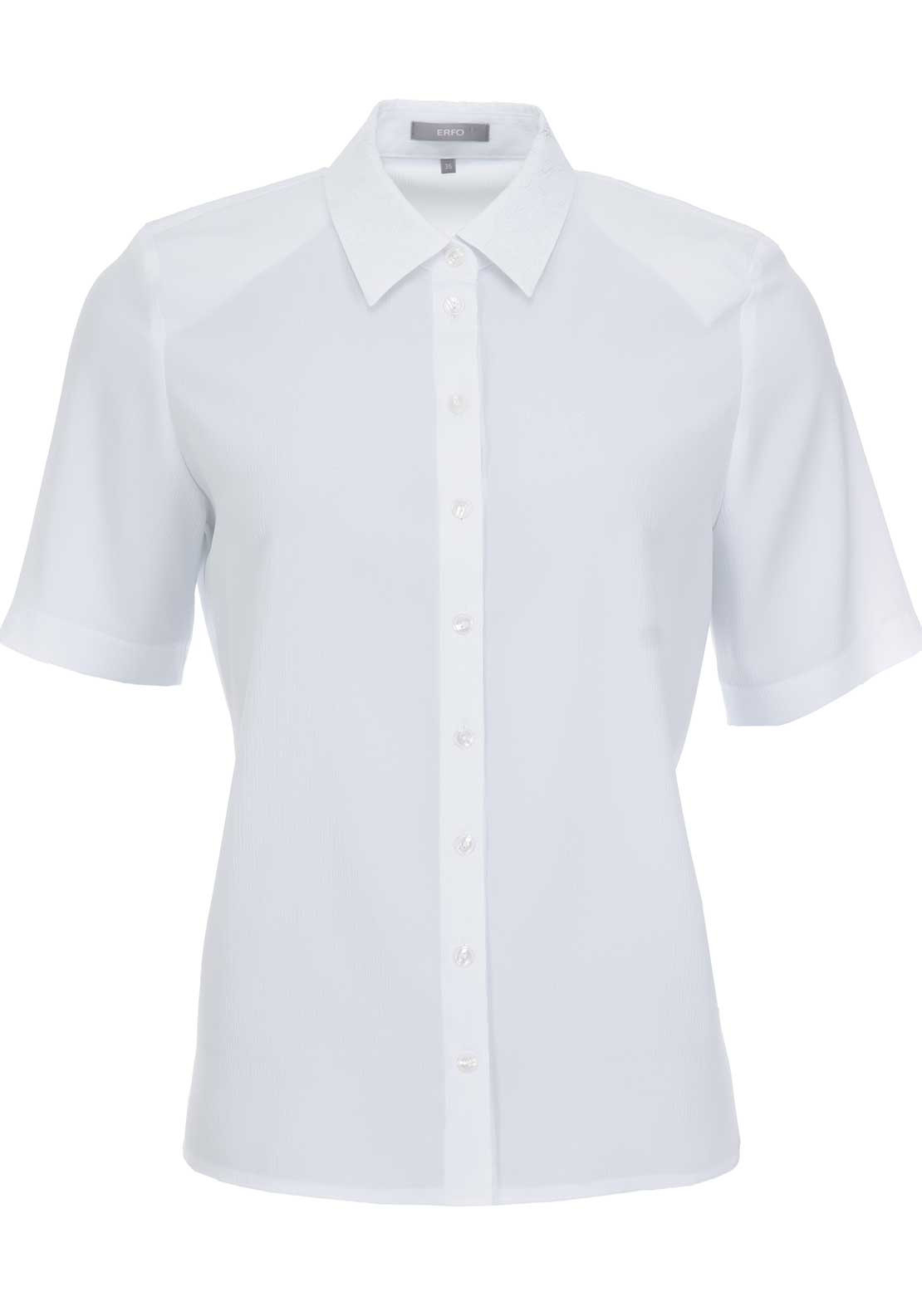 ERFO Embroidered Trim Short Sleeve Blouse, White