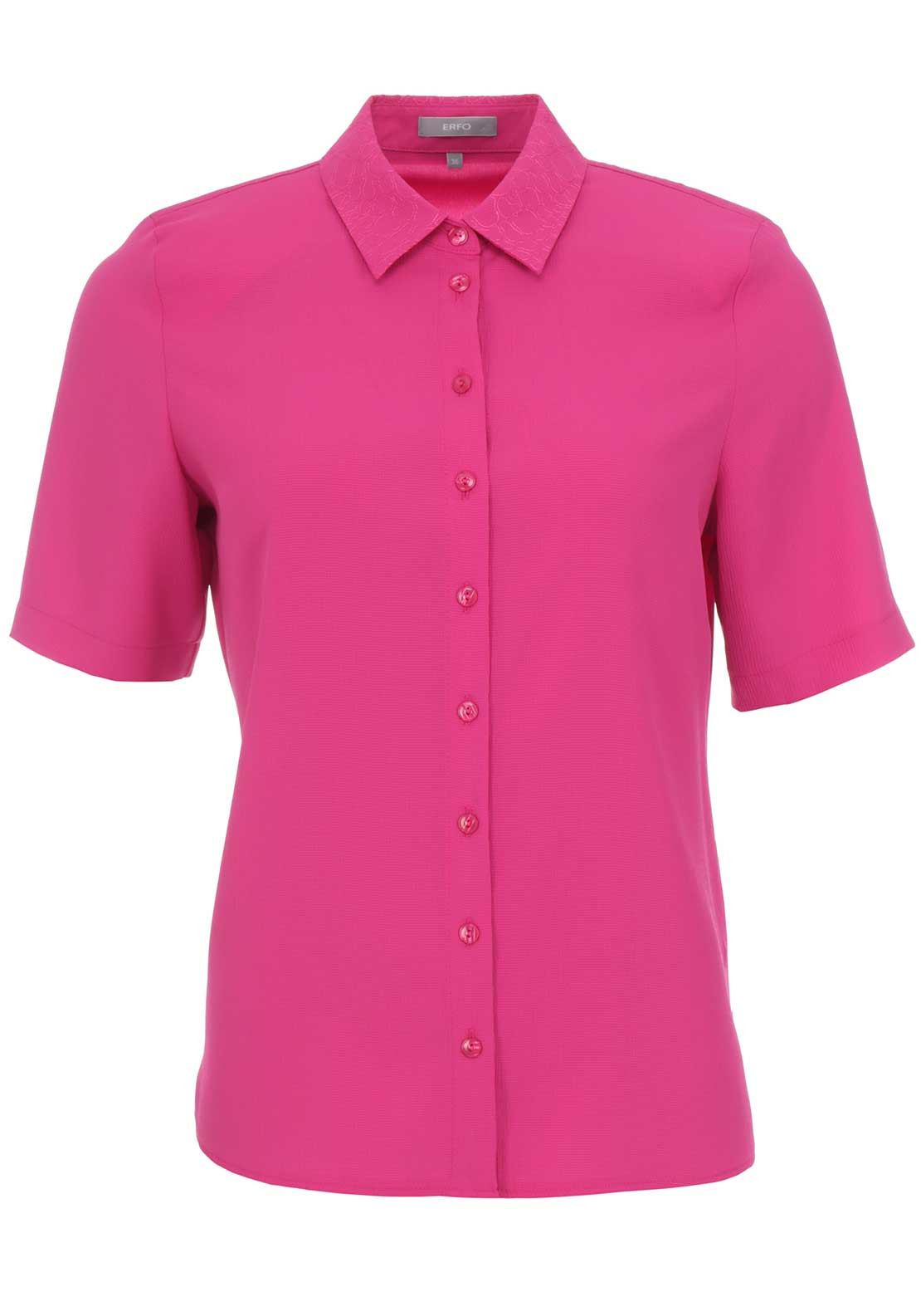 ERFO Embroidered Trim Short Sleeve Blouse, Fuschia Pink