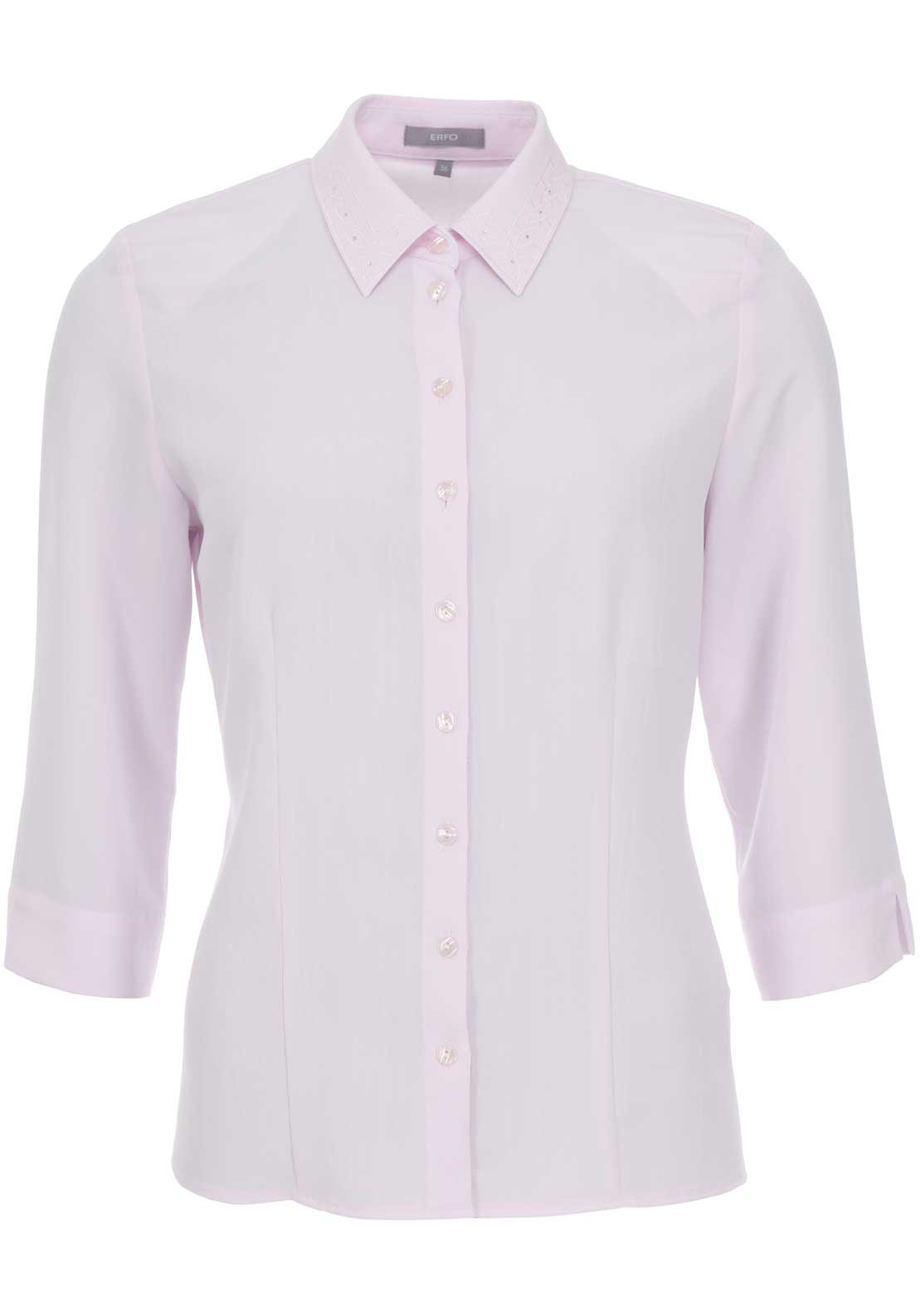 ERFO Embroidered Collar Blouse, Pink