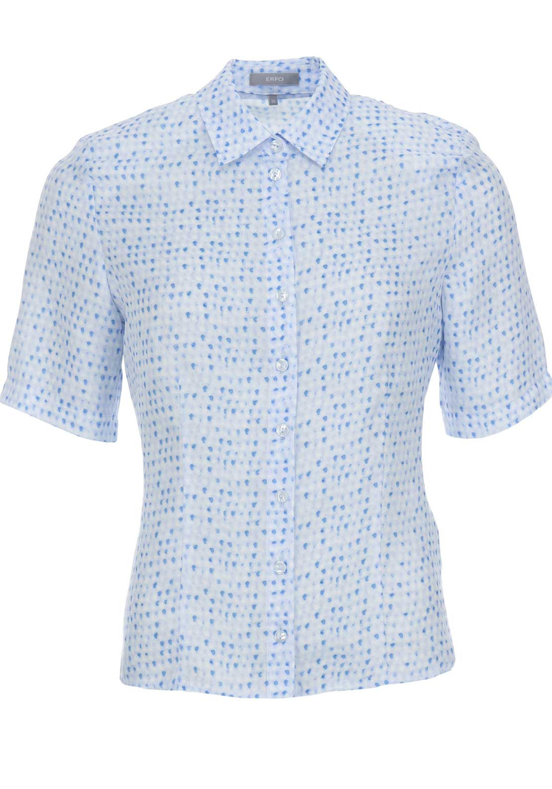 ERFO Printed Short Sleeve Blouse, Blue