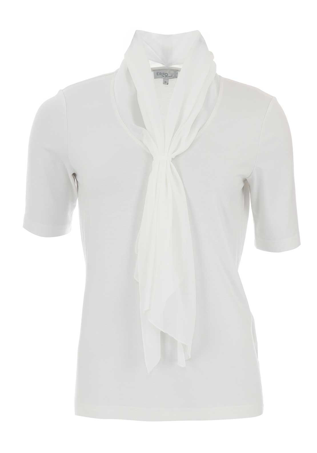 ERFO Scarf Collar Jersey Blouse, Ivory