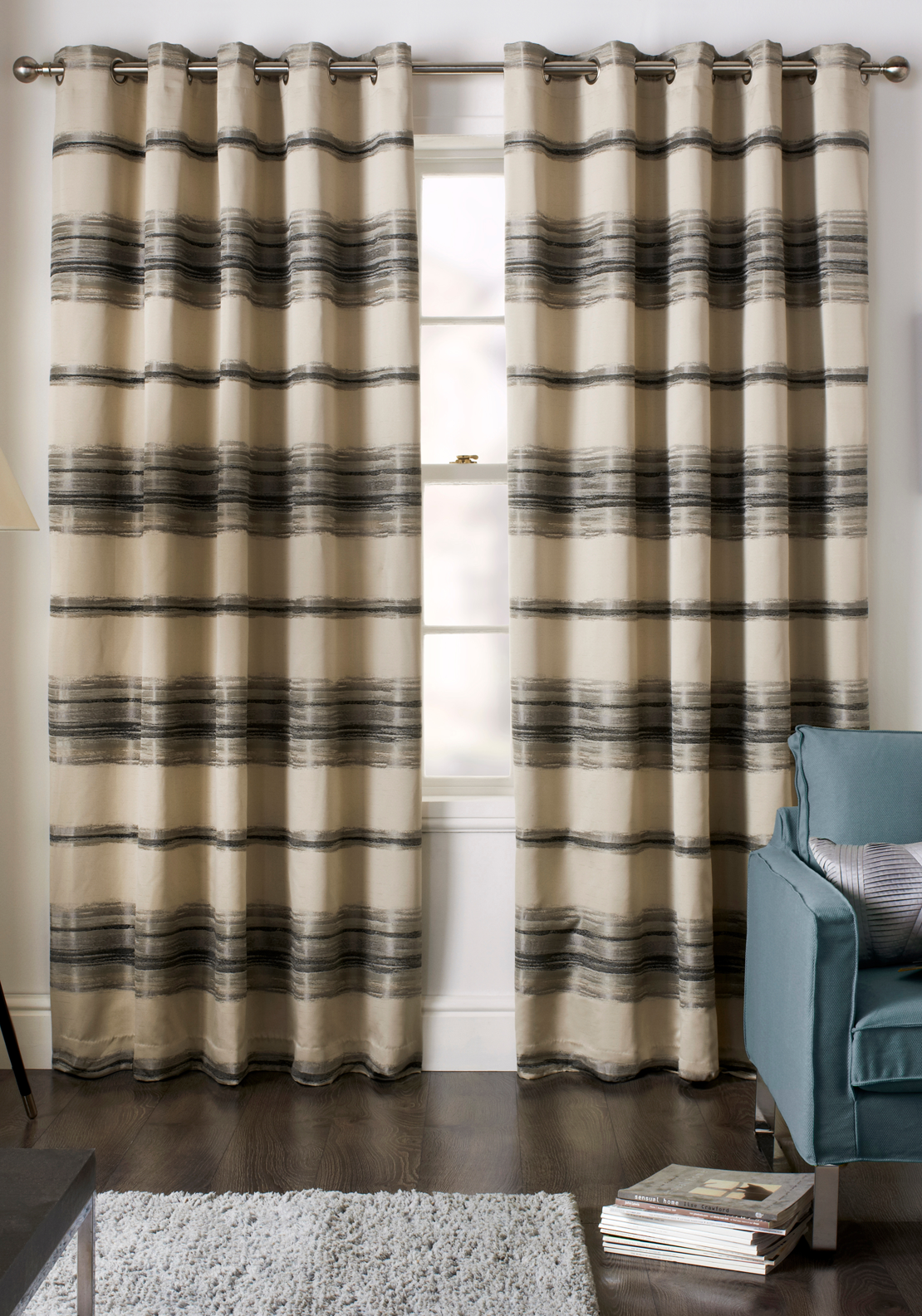 Jeff Banks Painted Stripe Fully Lined Eyelet Curtains, Charcoal