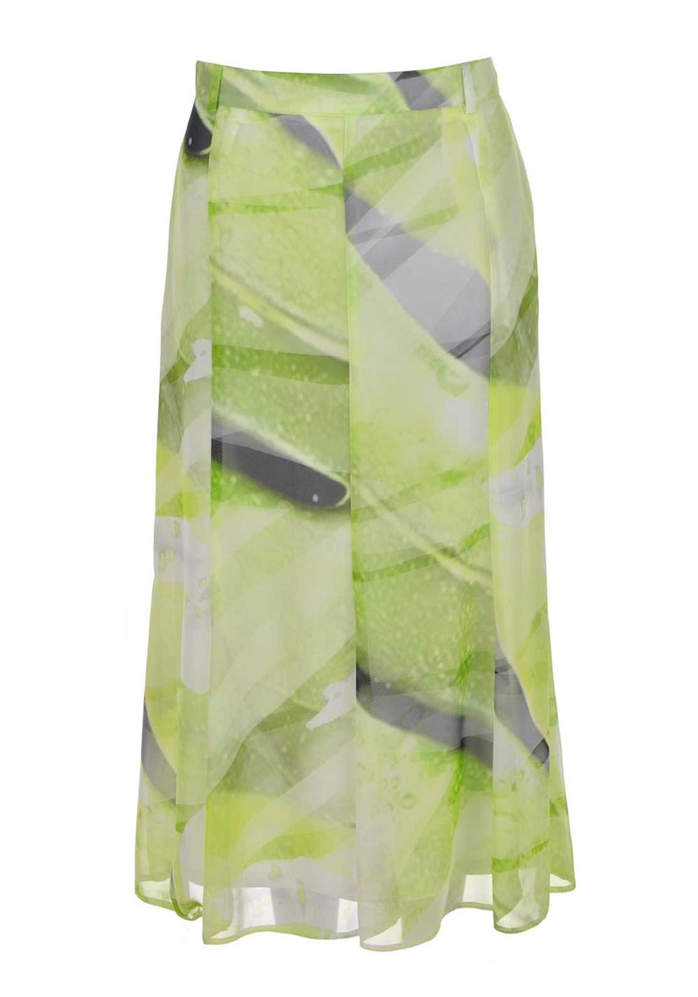 Eugen Klein Colourful Printed Chiffon Skirt, Lime