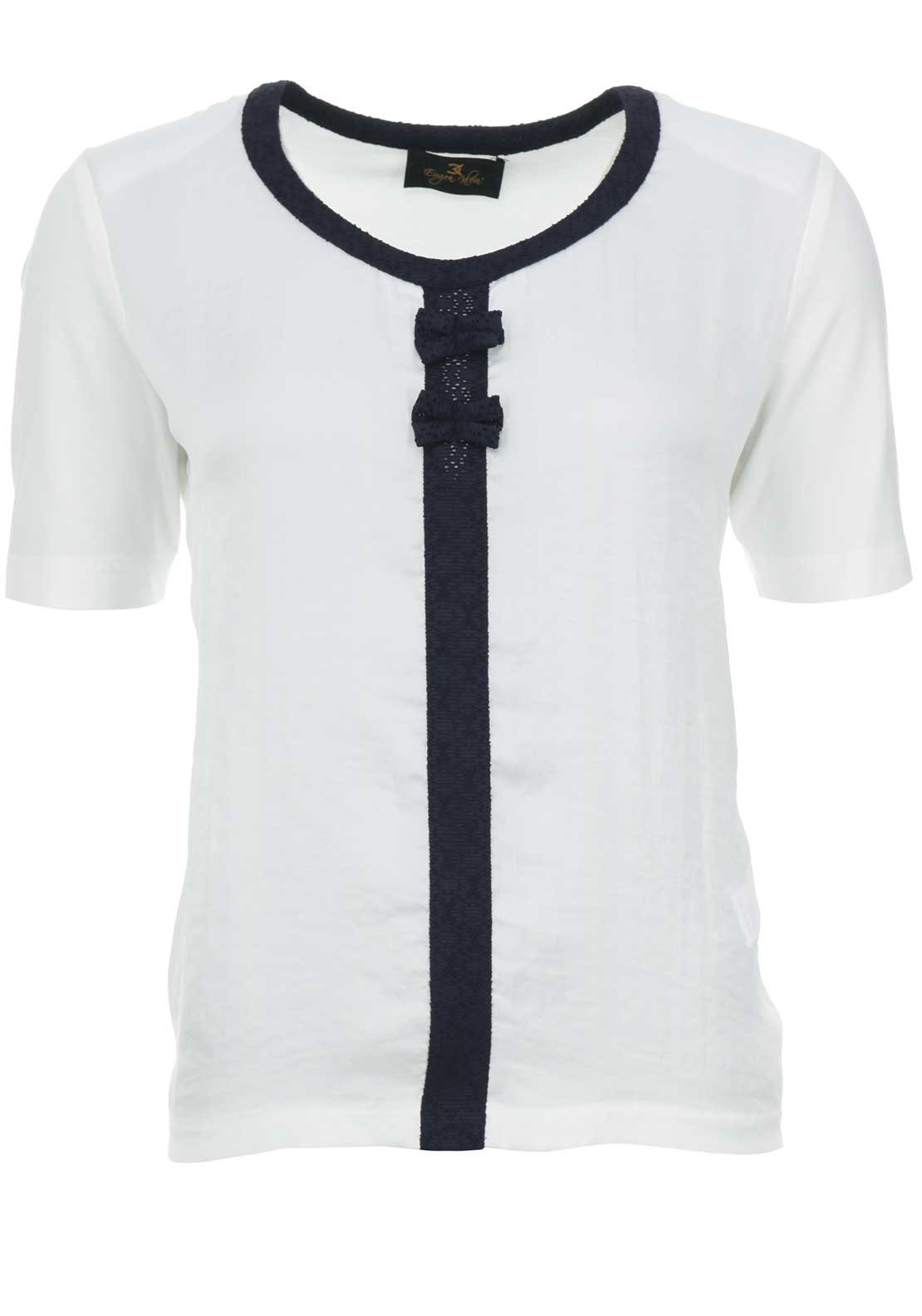 Eugen Klein Faux Silk Short Sleeve Top, White