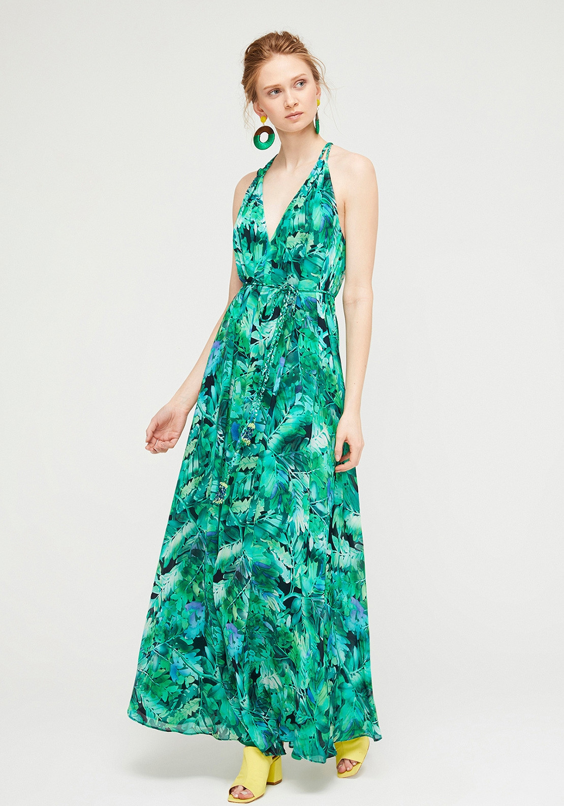89a960c1f0e76 Exquise Leaf Print Chiffon Maxi Dress, Green. Be the first to review this  product
