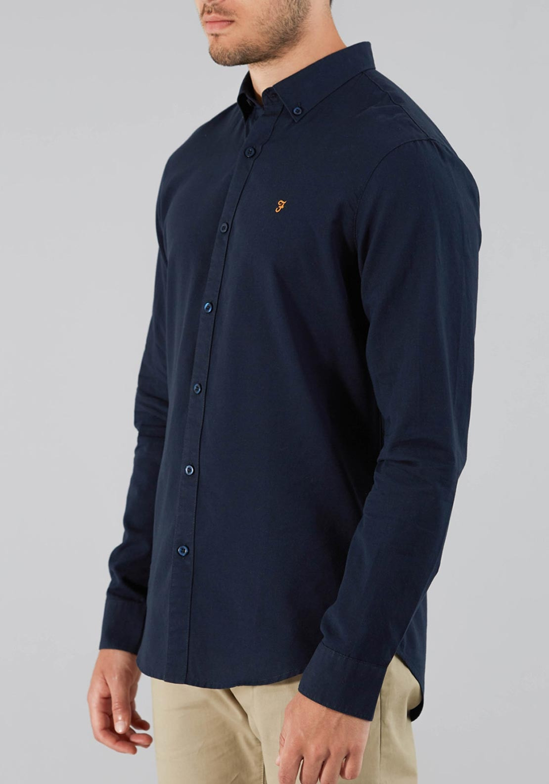 Farah Vintage Leon Slim Fit Shirt, Navy