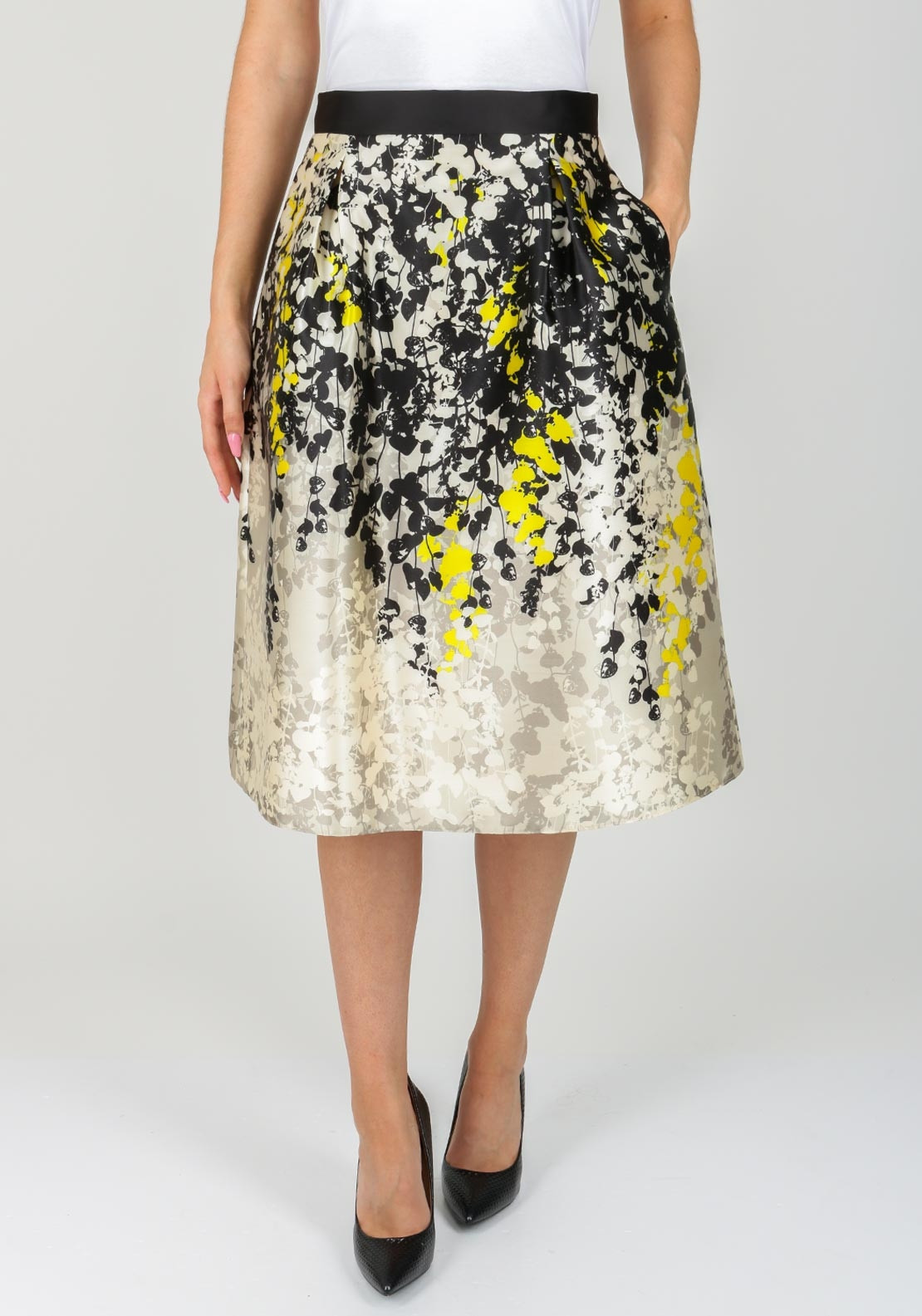Fee G Graphic Floral Flared Skirt, Multi-Coloured