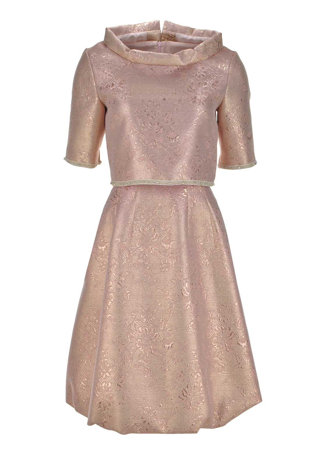 Fely Campo Two Piece Dress and Top, Metallic Pink