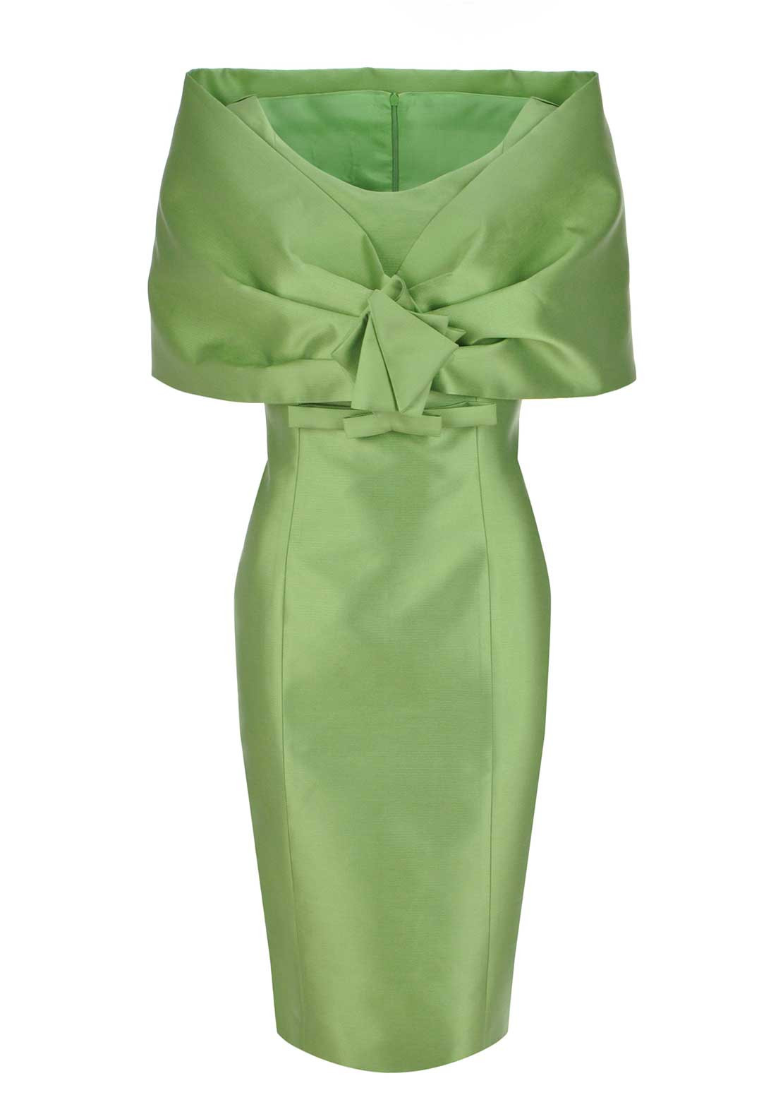 Fely Campo Sleeveless Pencil Dress with Shawl, Green