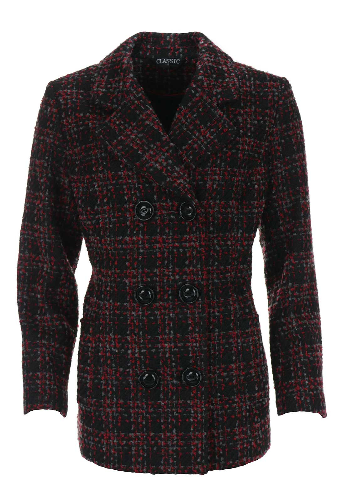 Boutique Collection Tweed Print Pea Coat, Red Multi